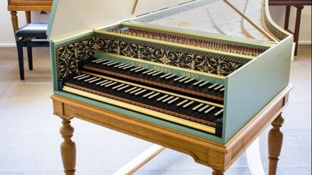 Photo of new School of Music Carey Beebe harpsichord