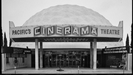 Caption: Cinerama movie theater, from Sunset Blvd. shoot, Ed Ruscha, 1985. Streets of Los Angeles Archive. The Getty Research Institute 2012.M.2. © Ed Ruscha