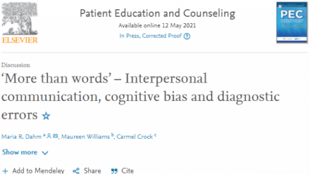 A new ICH opinion piece: 'More than words' – Interpersonal communication, cognitive bias and diagnostic errors